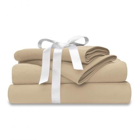 moisture-wicking beige sheet set with bow