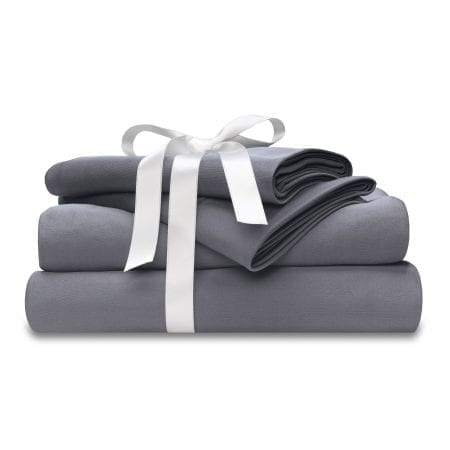moisture-wicking gray bed sheet set with bow at wicked sheets