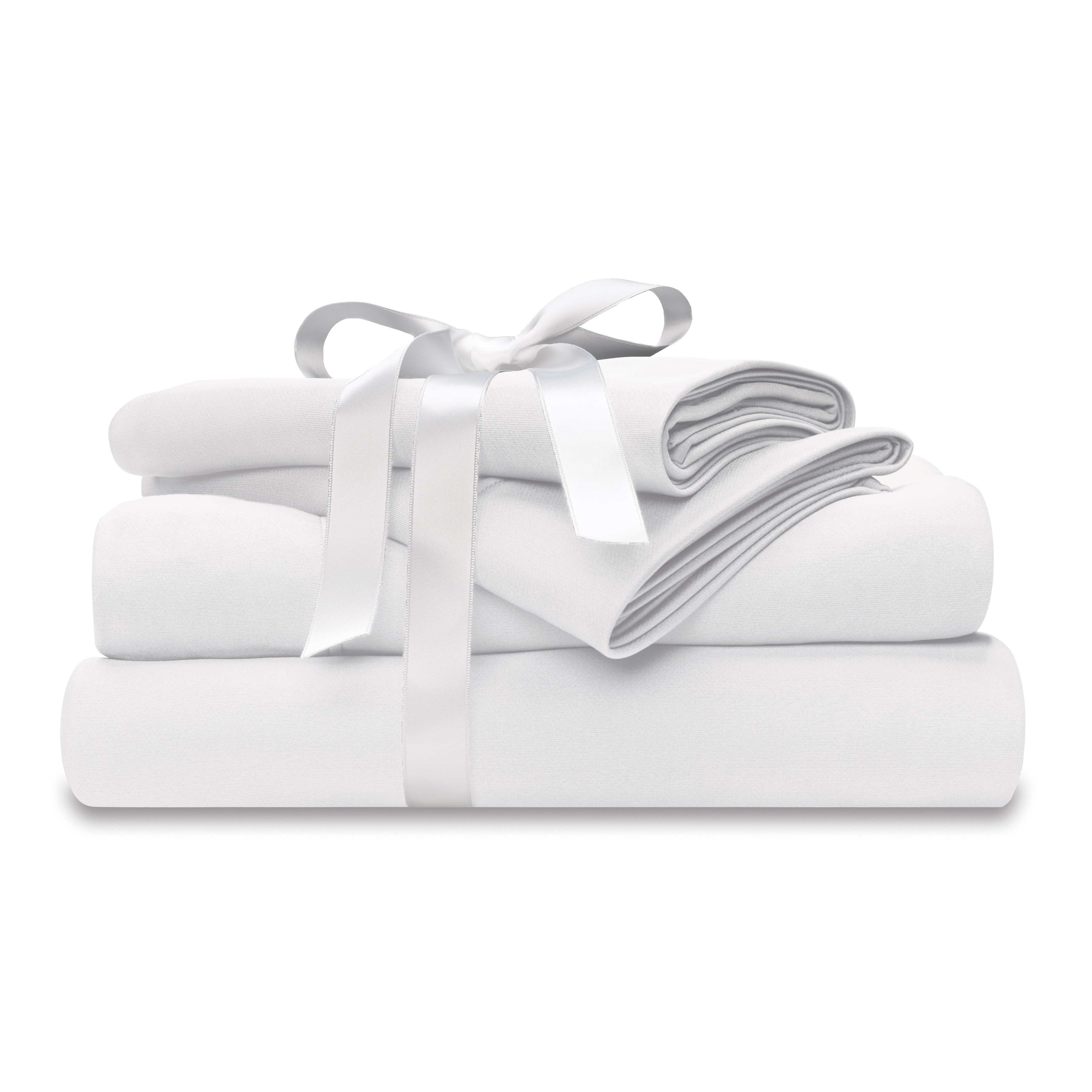 moisture-wicking white bed sheet set wtih bow at wicked sheets