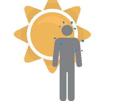 sweating in the sun