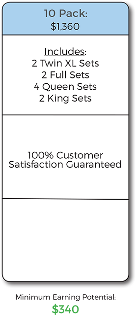 physician's 10 pack includes 2 txin xl sets 2 full sets 4 queen sets 2 king sets 100% customer satisfaction guaranteed
