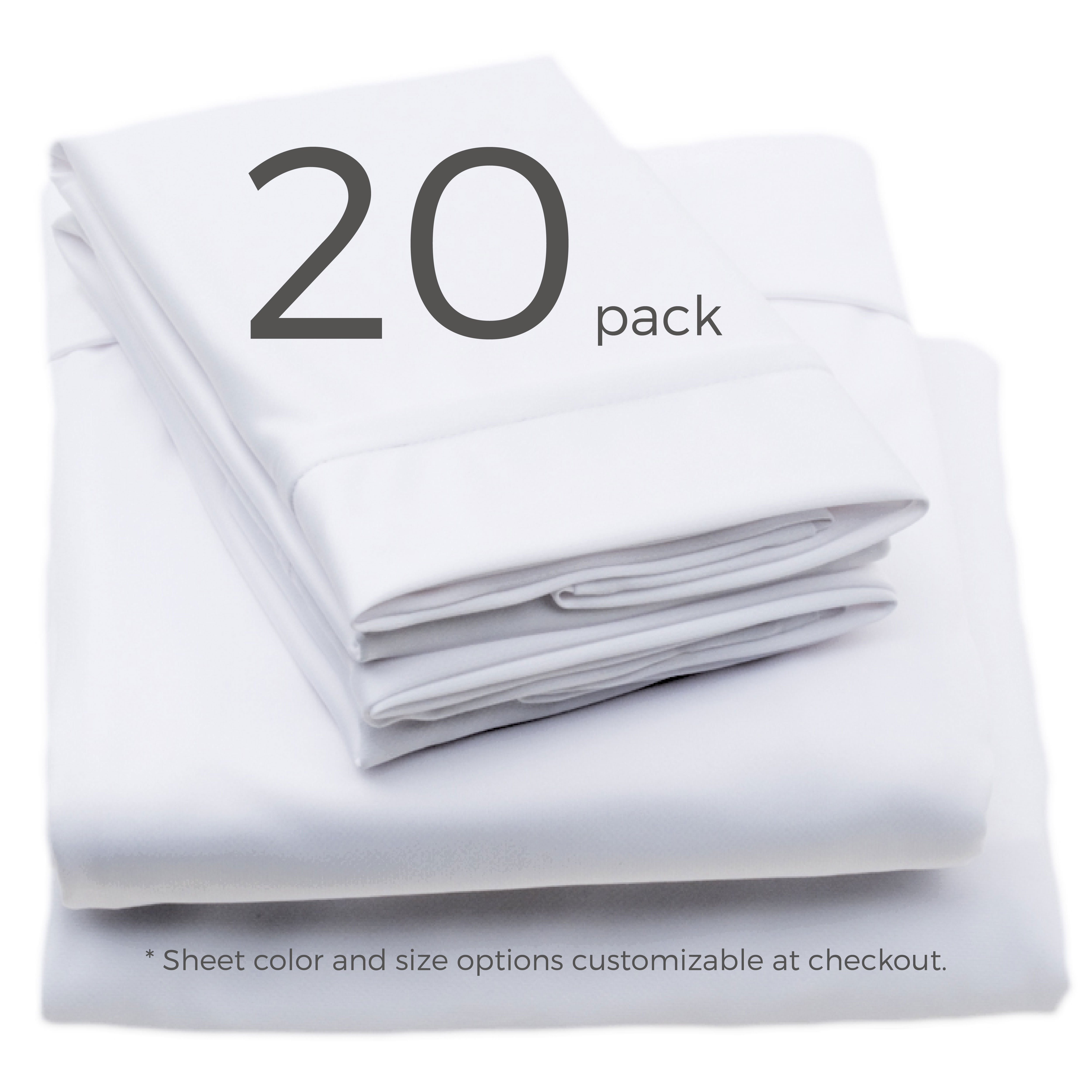 20 pack sheet color and size options customizable at checkout