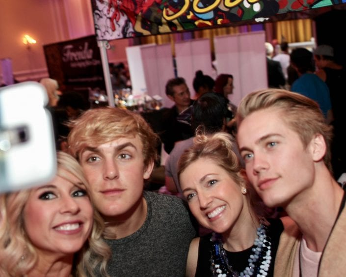 Jake Paul and Neels Visser take selfie with CEO Alli and Karen