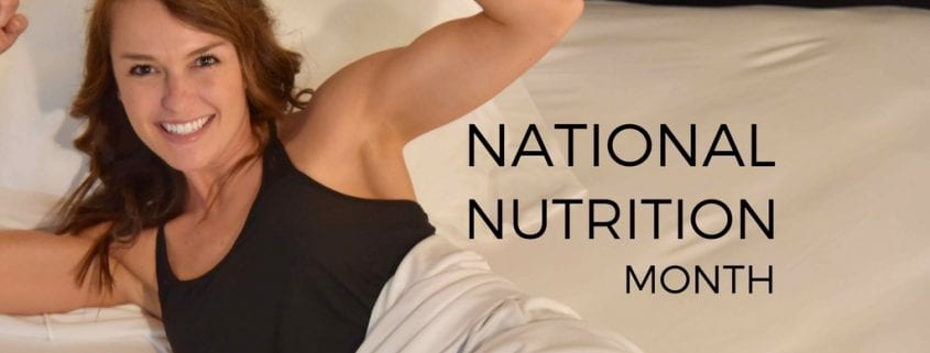 national nutrition month with elizabeth flexing in white cooling bedding, night sweats and nutrition