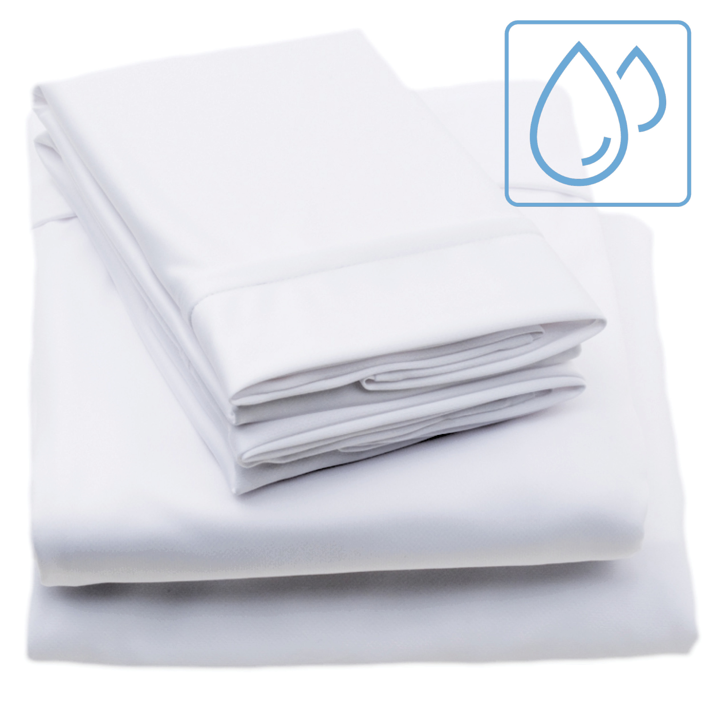 moisture wicking white bed sheet stack with blue water droplets