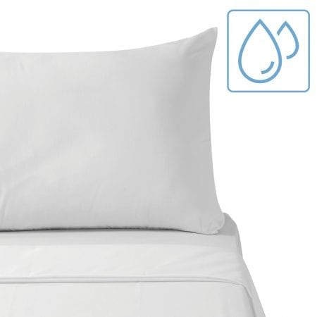 moisture wicking white bed sheets with water droplets