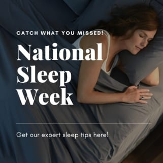 national sleep week woman sleeping in gray cooling sheets