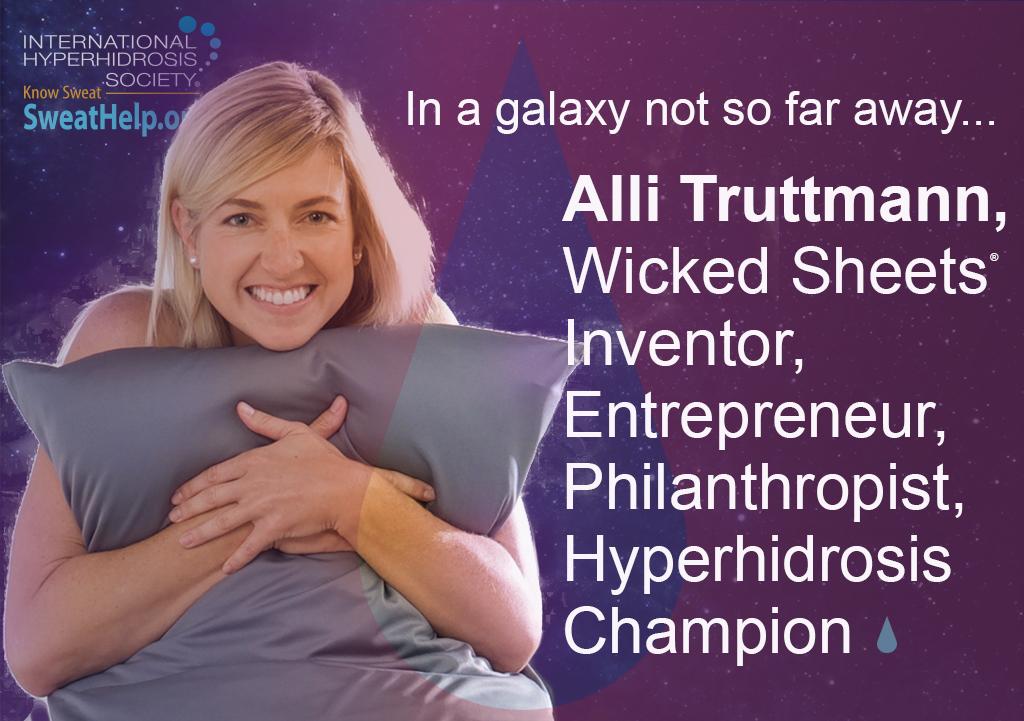 Alli Truttmann Wicked Sheets inventor entrepreneur philanthropist hyperhidrosis champion sitting hugging pillow