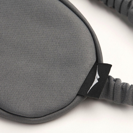 cooling gray sleep mask brand tag and band closeup