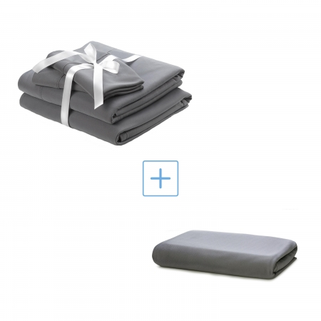 set of gray cooling wicked sheets and an extra quick drying gray fitted sheet