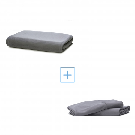 cool gray fitted sheet and two cool gray pillowcases
