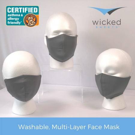 extra small, small, large washable, multi layer face masks by wicked sheets in cool gray