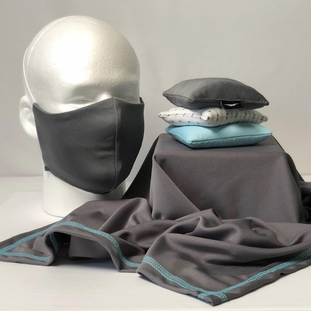 mask with gray sweat shammy and stacked lavender sachets