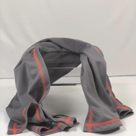 gray sweat shammy with orange thread