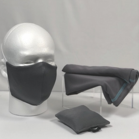 all gray cooling face mask, towel, and scent bag