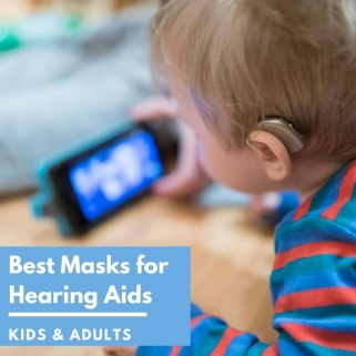 hearing aid friendly masks, best masks for hearing aids kids and adults over a child with a hearing aid watching iphone