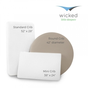 standard, mini, and round crib size dimensions by wicked little sleepers