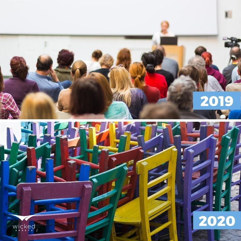 online entrepreneurism, 2019 versus 2020 pictures of full classroom and empty classroom