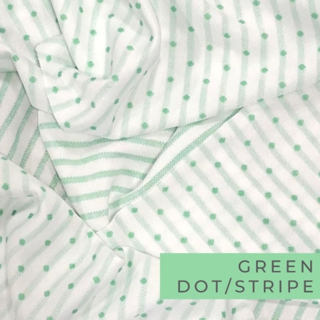 white fabric with mint green polka dot and stripe pattern