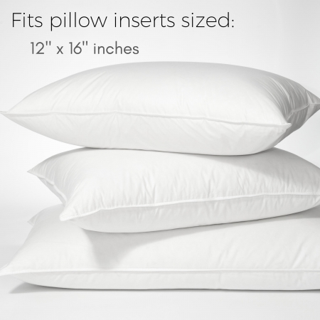 white pillow stack fits pillow inserts sized twelve by sixteen inches