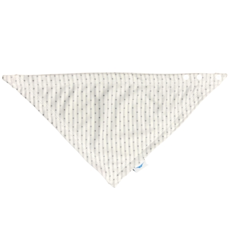 baby bandana in white with gray polka dots