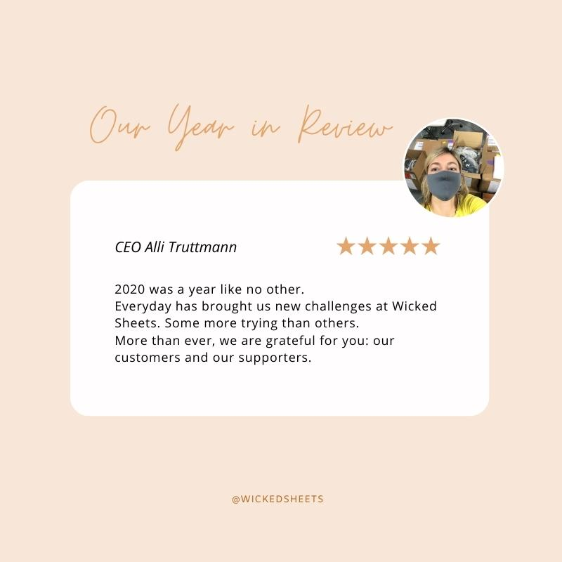 our year in review from ceo alli with a quote and picture of a face mask